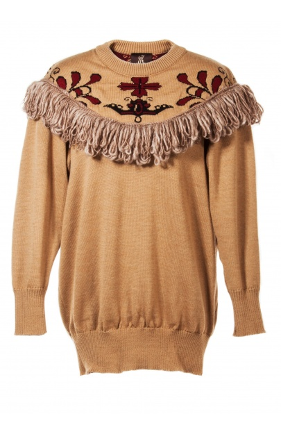 Sweater with jacquard neckline