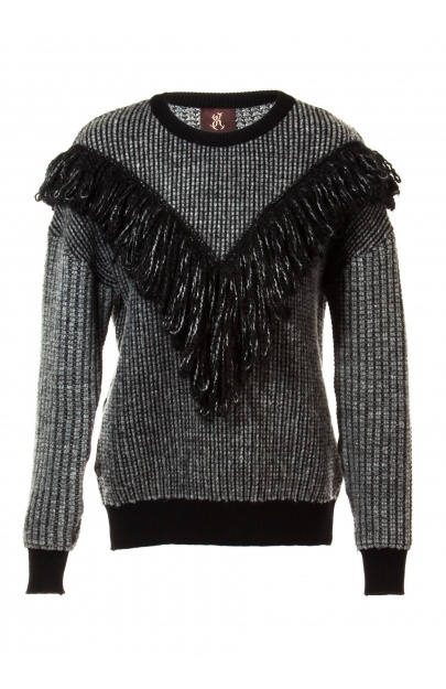 Structured sweater with fringe