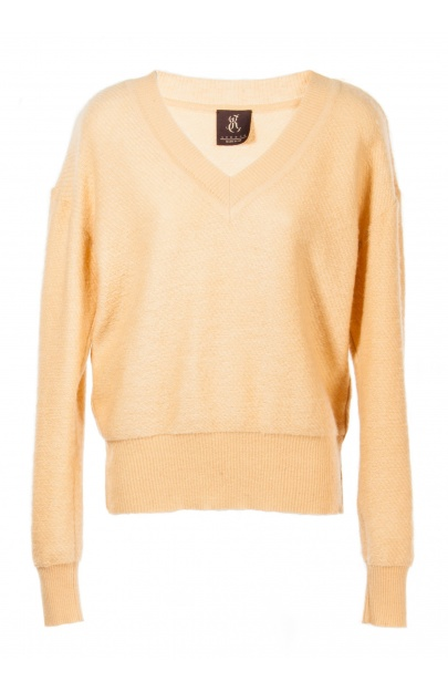 Woven structure V-neck sweater