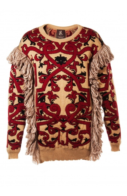 Jacquard sweater with fringes