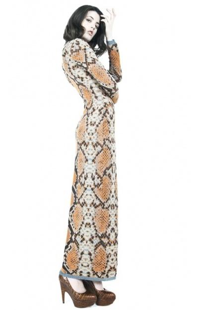 Snake Skin Jacquard Maxi Dress
