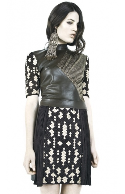 Leather Dress with Pleated Viscose Inserts