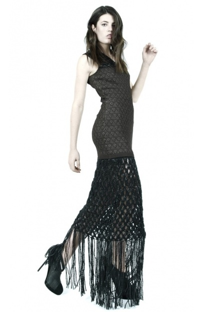 Jacquard Dress with Hand Macrame Skirt and Hand Crocheted Neckline