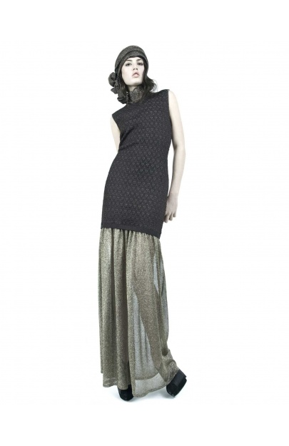 Viscose Jacquard Dress with Sheer golden skirt