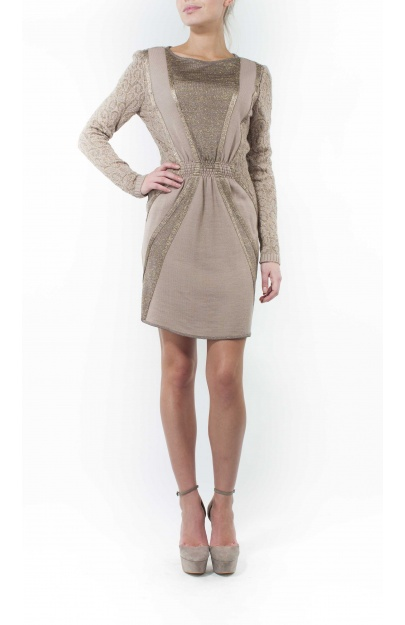 Knitted nude and pale rose dress
