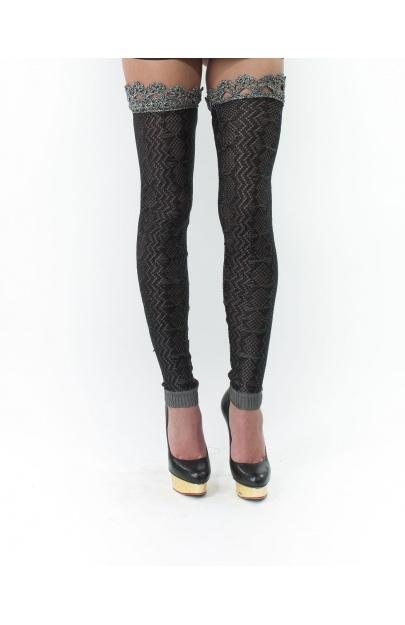 Grey Black Legwarmers