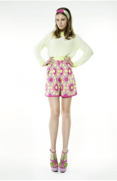 Tiles Print High Waisted Shorts